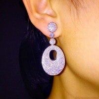 L4.3 * W 1.9 cm AAA luxo zircão cúbico elegante pave configuração completa pedras brincos brincos para as mulheres da forma da orelha acessórios