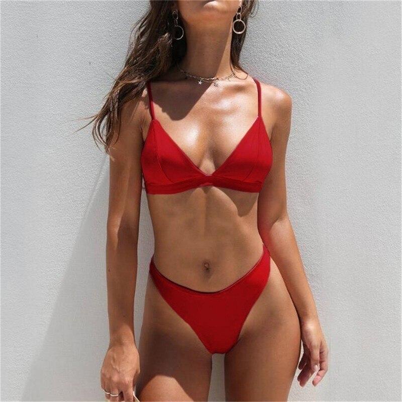 Sexy Triangle Bikini Set New Women Solid Bathing Suit Swimwear Summer Beach Wear Female Low Waist Red Swimsuit Biquini