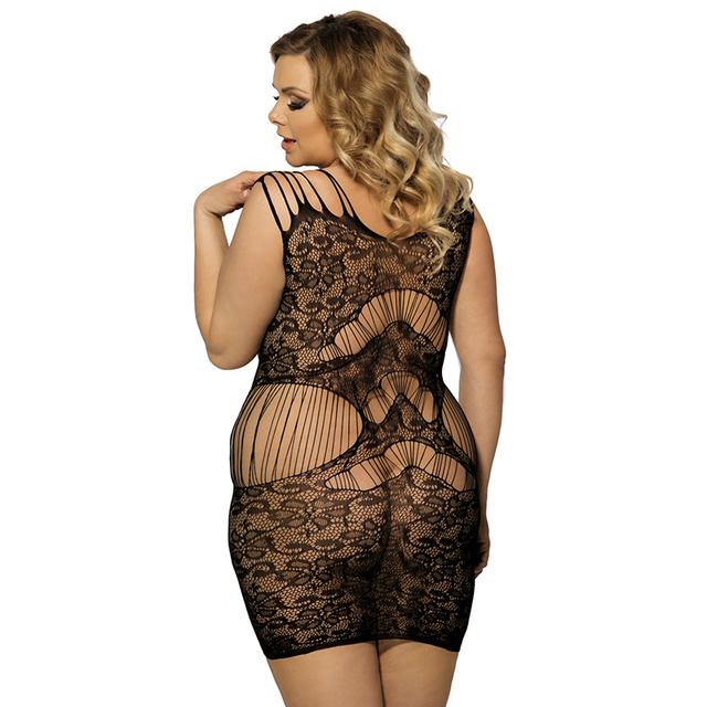 Leopard patterned plus size Bodystocking hollow out nightwear