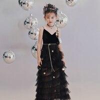 Роскошное черное детское торжественное платье на бретелях с v образным вырезом Вечерние платья с блестками и звездами, кружевные платья с ц