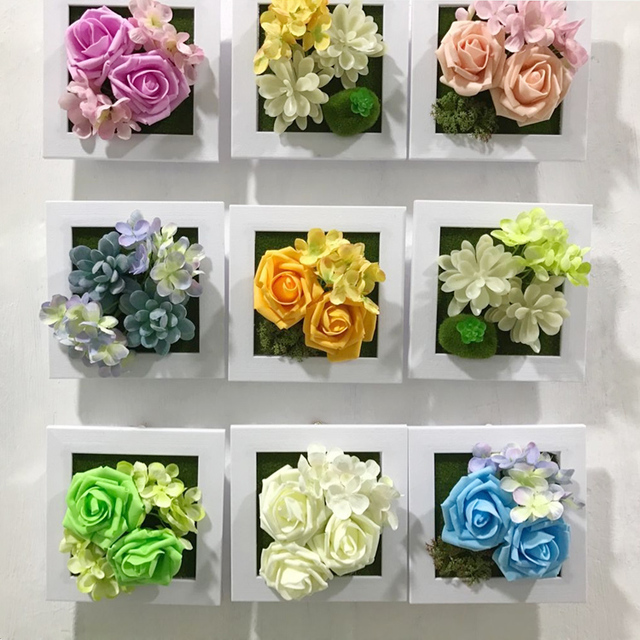 PE Rose+Silk Flower Photo Frame Wall Decoration Artificial
