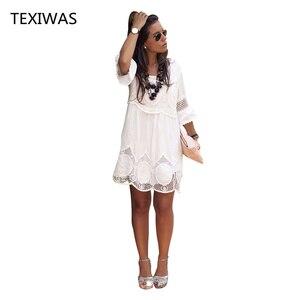 Image 3 - TEXIWAS Plus Size S   6XL Women Summer Dress Fashion Half Sleeve Loose Lace Dress 2018 White O neck Women Dress