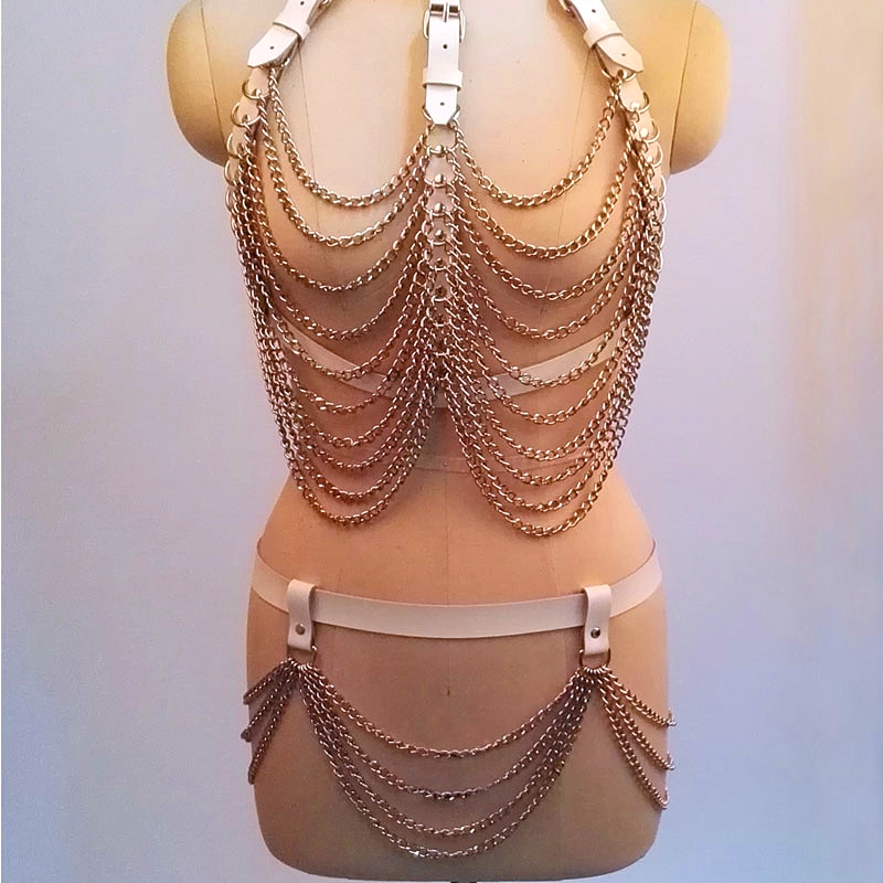 100 Handcrafted Heavy Duty Metal Chain Link Harness Leather Bra Chest Top Bralett Bondage Bottom Waist