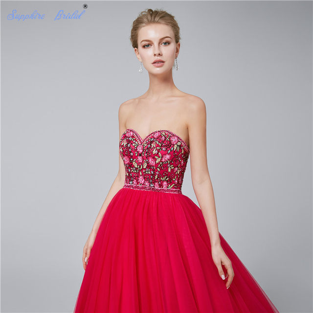 61e2834c04 Sapphire Bridal Red Navy Blue Embroidery Ball Gown Floor Length Long Party  Gowns Gorgerous Quinceanera Dresses Hot Sale