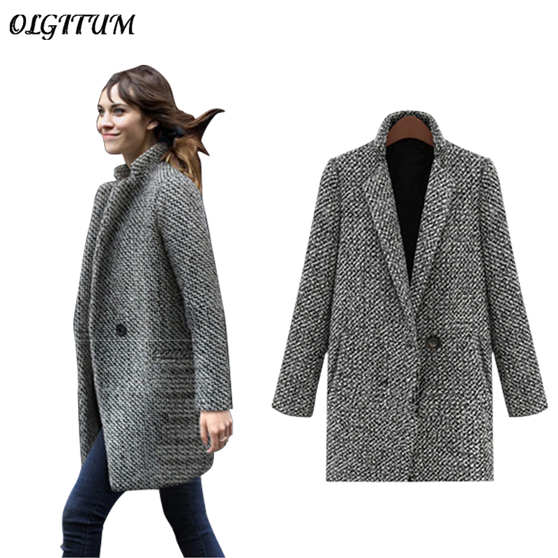 Female single-breasted Woolen Coat spring/Autumn High Quality Woolen Jacket coat Thick Warm Windproof Long section Loose Overoat