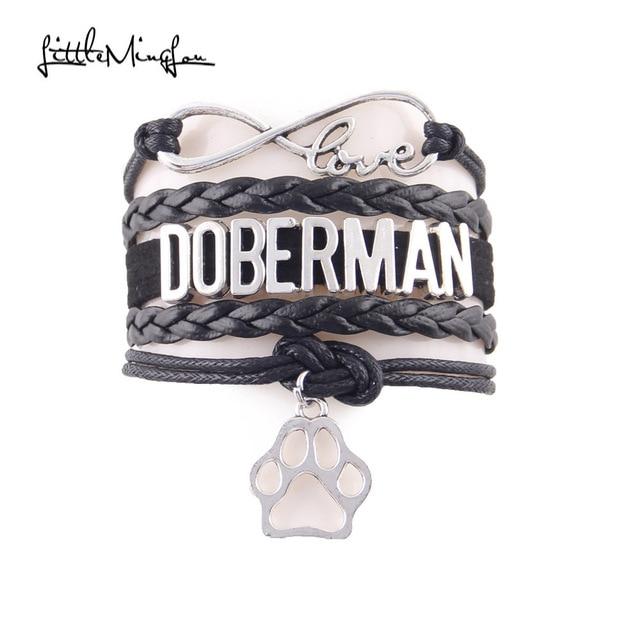 Little Minglou Infinity love DOBERMAN bracelet pet dog paw charm leather wrap men bracelets & bangles for women jewelry