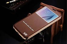 KXX Smart Touch Flip View Window Genuine Leather Cover Aluminum Metal Frame Original Phone Case For