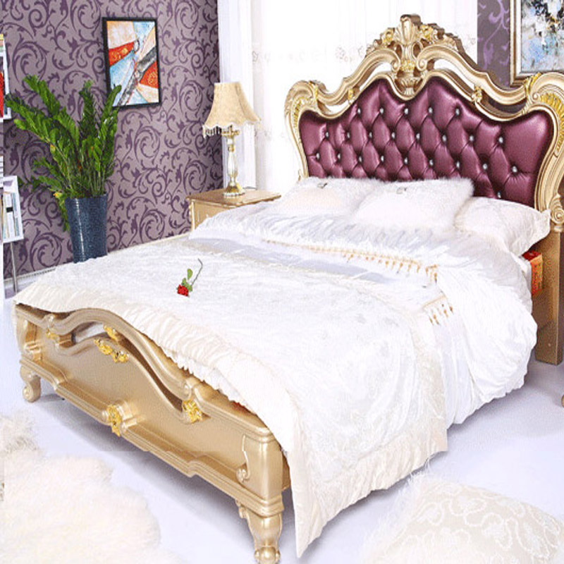 european style imported leather princess king queen size double bed 1 8 meters champagne gold. Black Bedroom Furniture Sets. Home Design Ideas