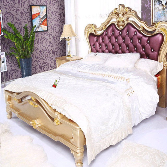 European Style Imported Leather Princess King Queen Size Double Bed 18 Meters Champagne Gold Hand