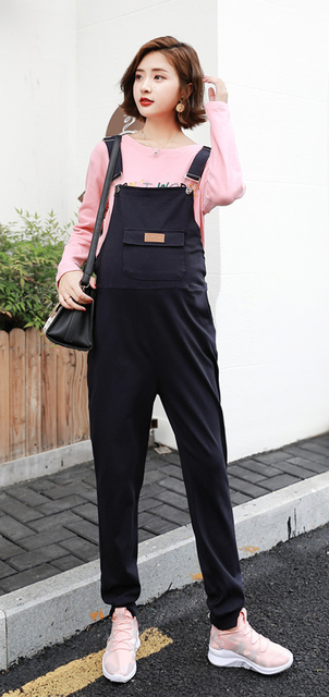 3c7b7cfe1b535 Women's Cotton Overall Maternity Jumpsuit Loose Rompers Baggy Pants  Pregnancy Bib Lace-up panties Size M L XL XXL DXY8838