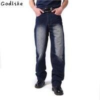 Hommes de jeans Hip-Hop Pantalon Graisse graisse pantalons longs pour hommes impression jeans Homme lâche jeans hiphop planche à roulettes jeans baggy pantalon denim