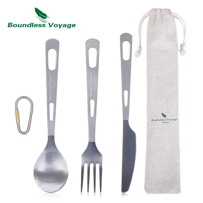 Titanium Camping Cutlery Utensils Sporks Portable Set Thick Flatware for Picnic