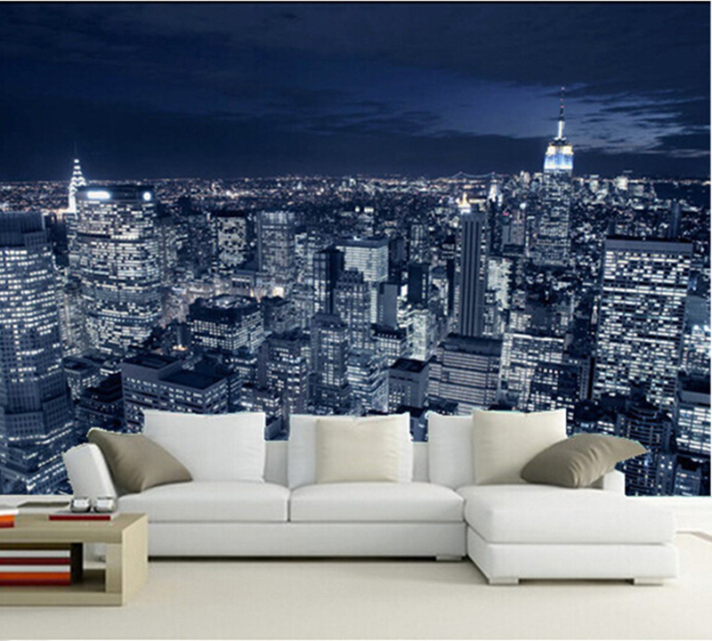 The latest 3D  mural,3d Beautiful black and white in New York City at night  ,living room TV wall bedroom wall paper selling the lower east side culture real estate and resistance in new york city