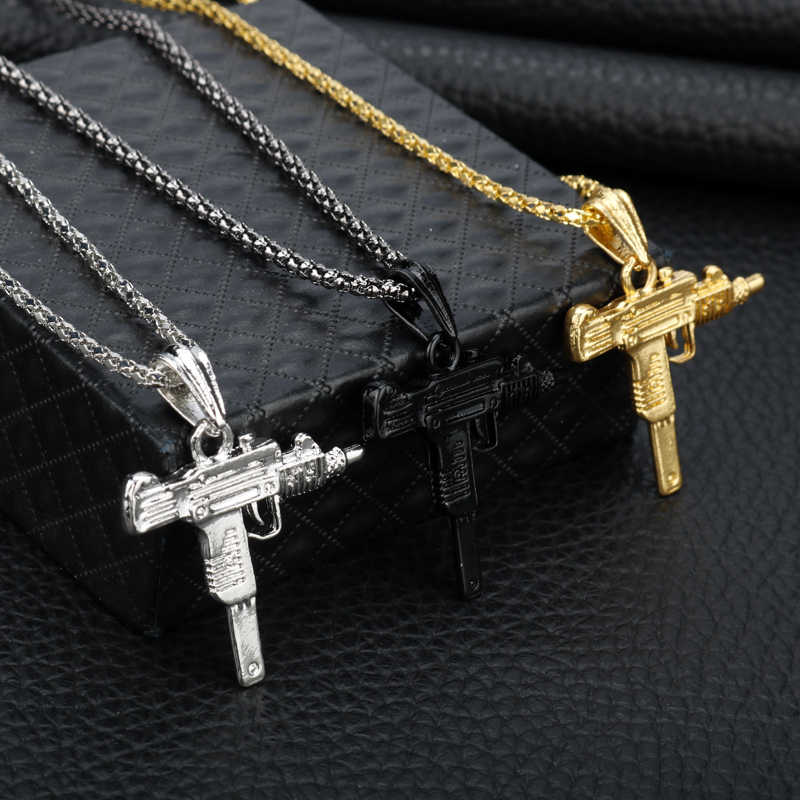 Cool UZI GUN Shape Pendant Necklace Men Hip Hop Jewelry Silver/Gold/Black Color Stainless Steel Army Style Male Chain Necklaces