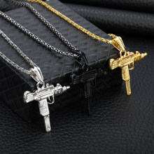 Cool UZI GUN Shape Pendant Necklace Men Hip Hop Jewelry Silver/Gold/Black Color Stainless Steel Army Style Male Chain Necklaces(China)