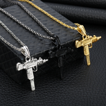 Chaine Pendentif Cool UZI pistolet Hip Hop bijoux argent Or Noir