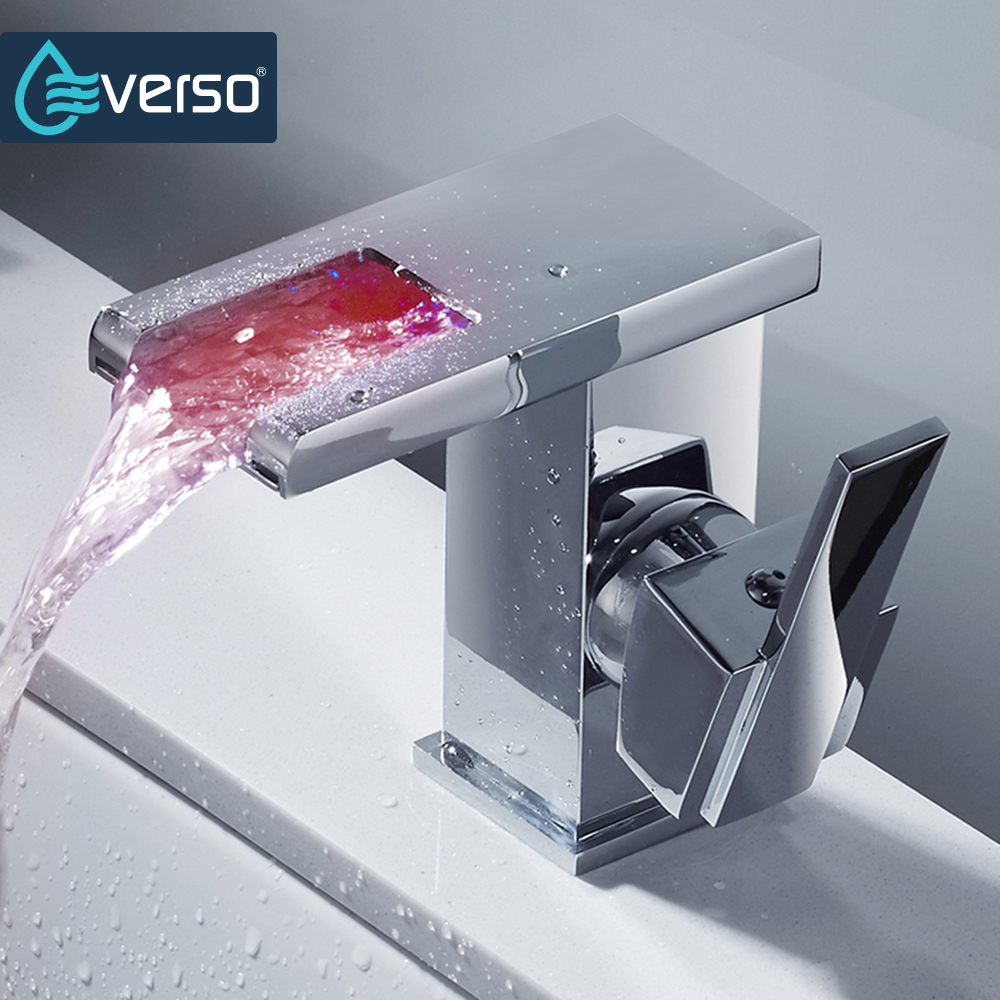 EVERSO LED Faucet Wide Flowing Water Basin Sink Faucet Chrome Single Handle Bathroom Faucet Cold and Hot Mixer Tap newest washbasin design single hole one handle bathroom basin faucet mixer tap hot and cold water orb chrome brusehd
