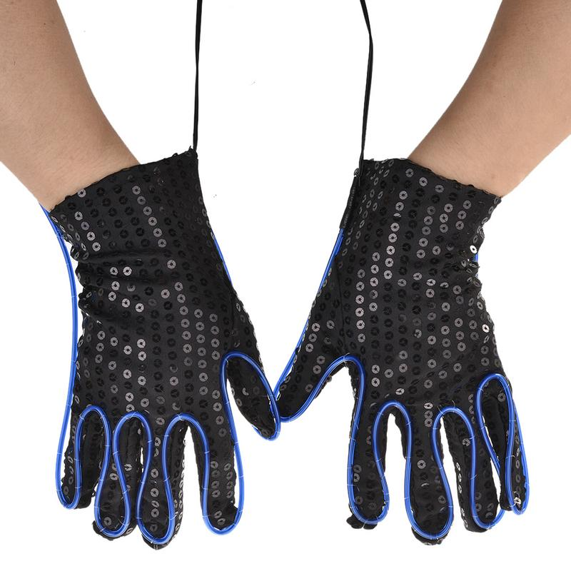 1 Pair Adult Costume Props Party Gloves Fluorescent Performances Props Neon Flexible EL Wire Flashing Gloves 10 Colors Options