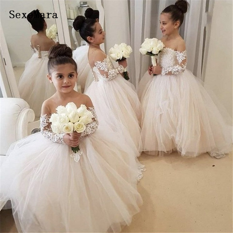 Champagne Tulle   Flower     Girl     Dresses   For Wedding Sheer Long Sleeve Ball Gown Lace Appliques   Girls   First Communion Gowns