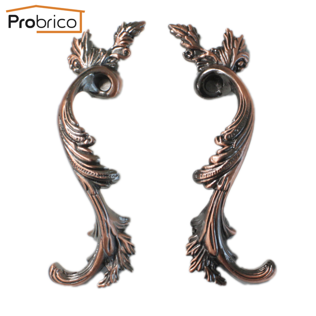 Probrico Furniture Antique Drawer Knob PDF238AC96 Zinc Alloy Brushed Copper Vintage CC 96mm Kitchen Cabinet Handle Cupboard Pull