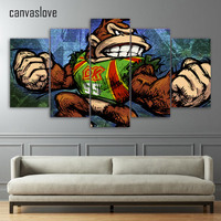 5 Piece Canvas Art HD Print Comic Angry Strong Monkey Painting Paintings For Living Room Wall