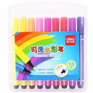 Deli 1 шт., акварельные ручки для рисования, 18/24/36/48/100 цветов, моющиеся маркеры, подарок для детей, цветные ручки, принадлежности для рисования