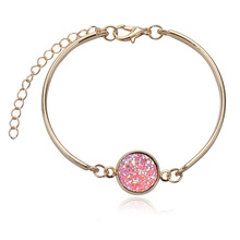 Luxury Brand Jewelry with Gold/Silver Plated Druzy Shaped Charm Love Bracelet Bangle for Women Wedding Gift
