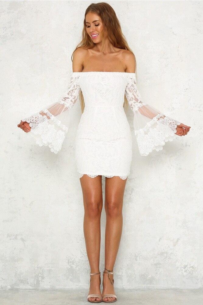 HTB1j6zOkMoQMeJjy1Xaq6ASsFXaC - Slash Neck Lace Flare Wrist Sleeve Women Summer Dresses Sexy Stitching Sheath Backless Above Knee, Mini Evening Party Dess