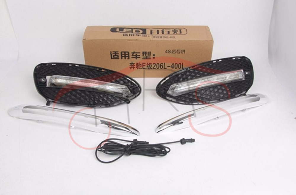 Car-styling LED DRL Daytime Running Light  For Mercedes Benz W212 E Class E180 E200 E260 E320 2014-2015 Daylight fog Lamp zhaoyanhua car floor mats for mercedes benz w169 w176 a class 150 160 170 180 200 220 250 260 car styling carpet liners 2004