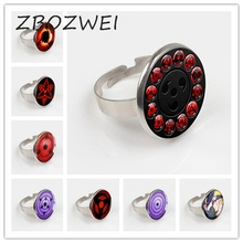 ZBOZWEI 2018 New Glass Naruto Shippuden Ring Round Vintage for Women Men