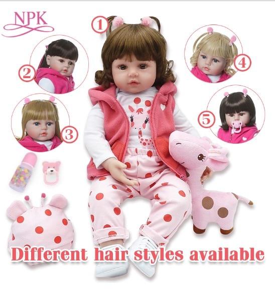 NPKCOLLECTION 48 centímetros boneca reborn silicone renascer baby dolls com corpo de silicone menina bonecas do bebê do aniversário dos miúdos presente de Natal