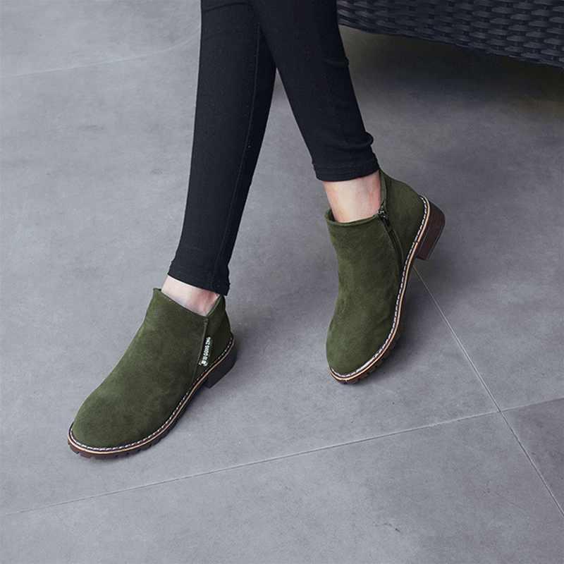 Moda kadın Martin çizmeler sonbahar kış çizmeler klasik fermuar kar yarım çizmeler kış süet sıcak kürk peluş kadın ayakkabı