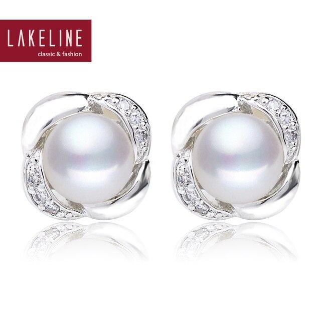 Freshwater Pearl Stud Earrings Clic Aaa Genuine Cultured On Earring Cz Rhinestone And Flower