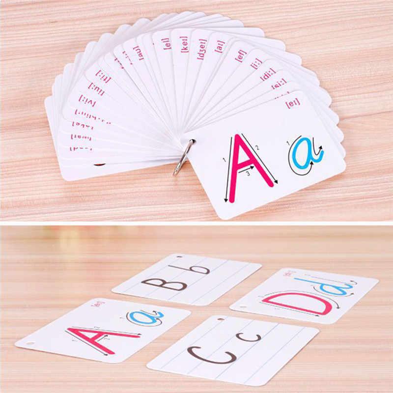 26 mektup İngilizce Flash kart el yazısı Montessori erken geliştirme öğrenme eğitici oyuncak çocuk Kid hediye için toka ile