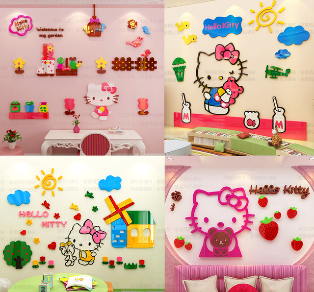 Cartoon hello kitty acrylic 3d wall stickers for kids rooms girls cartoon hello kitty acrylic 3d wall stickers for kids rooms girls decor princess baby decals muurstickers altavistaventures Image collections
