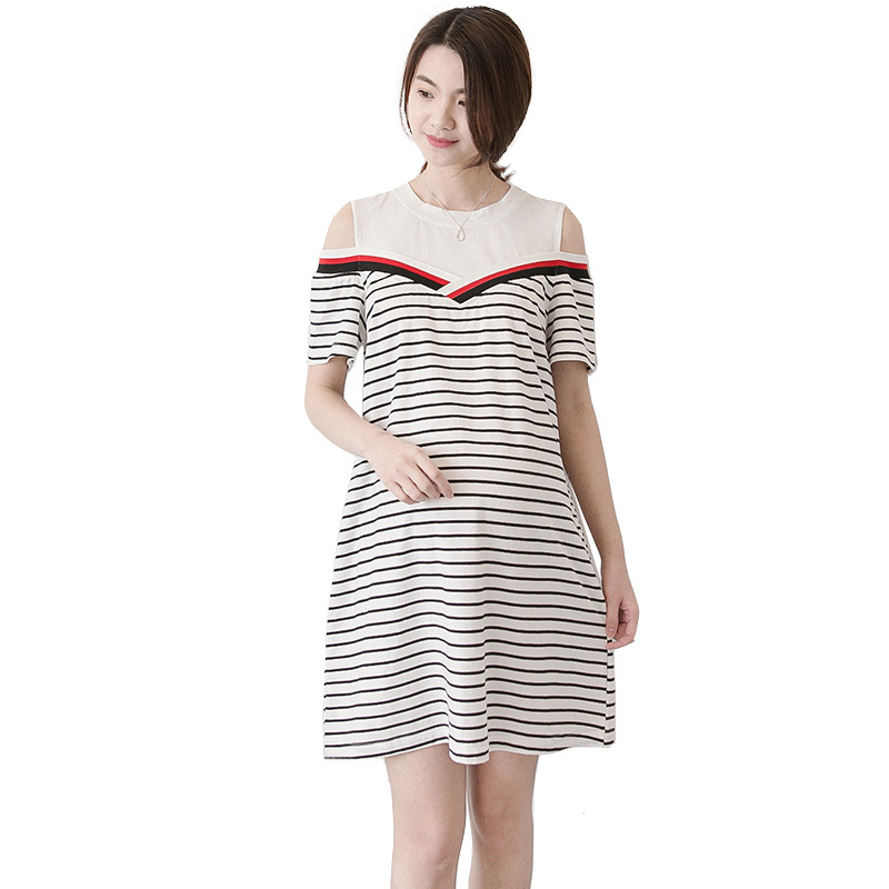 Pregnant Dress 2018 Summer New Maternity Dress Sweet Strapless Short Sleeve Striped Long Maternity Clothes Pregnant Clothing