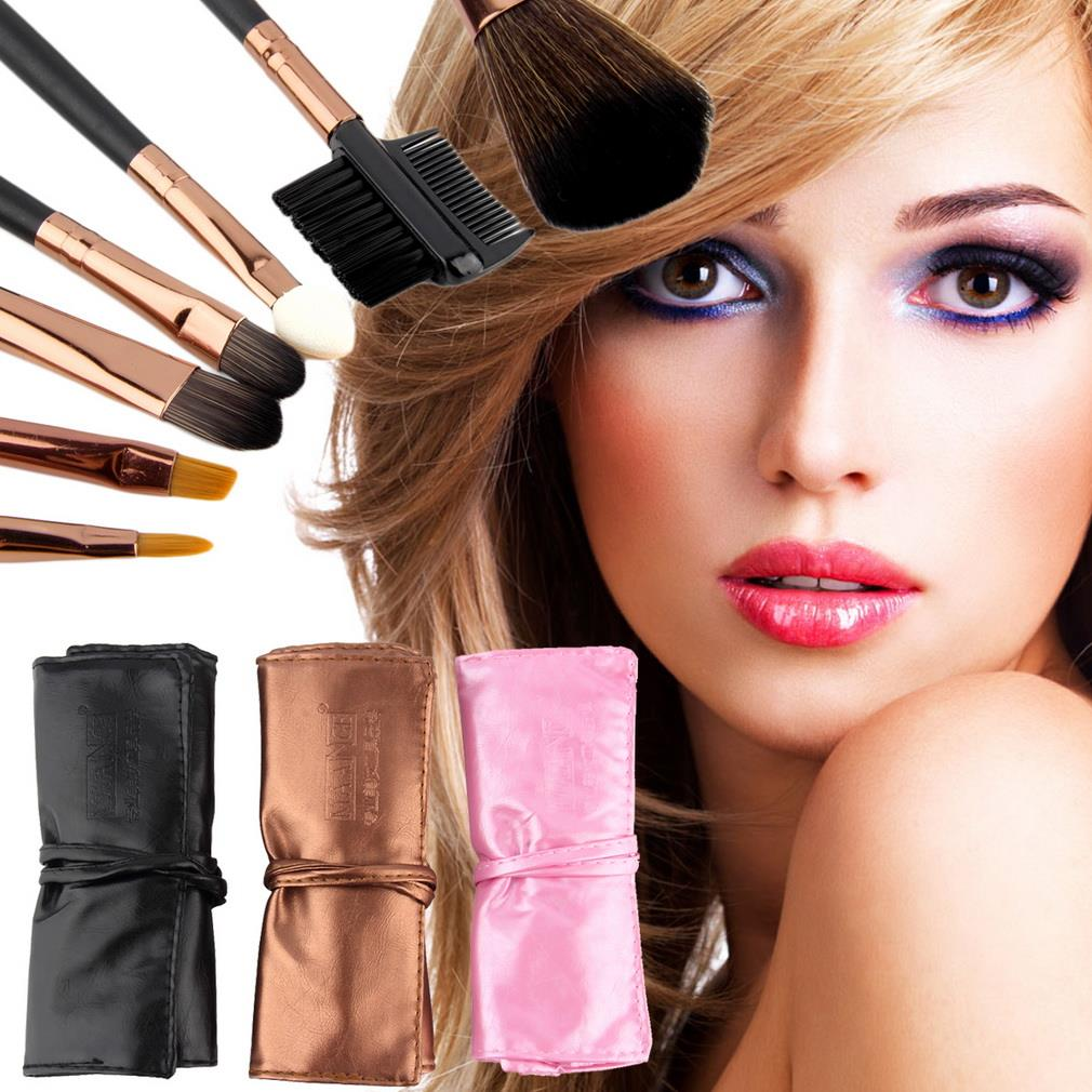 Professional 7pcs Makeup Brush Set with Leather Bag Powder Foundation Make Up Brushes Beauty Cosmetics brochas maquillaje stylish 7 pcs nylon makeup brushes set with brush bag 2 pcs foundation brush powder puffs