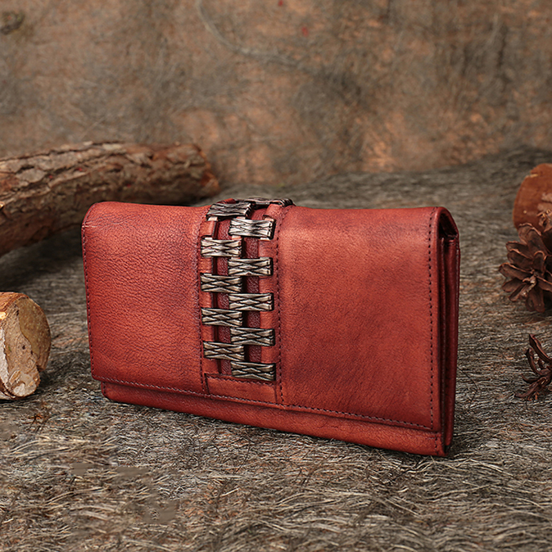Leather Women Wallets Retro Handmade Genuine Leather Clutch 2018 Latest Female Purse Card Holder Lady Long Foldable Wallets