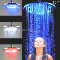 X15252 Luxury 10 Inch Brass Led Light Round Rainfall Shower Head