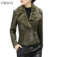 LXUNYI Autumn PU Women Leather Jacket Motorcycle Flocking Short Ladies Leather Jackets With Pockets Real Rabbit Hair Collar