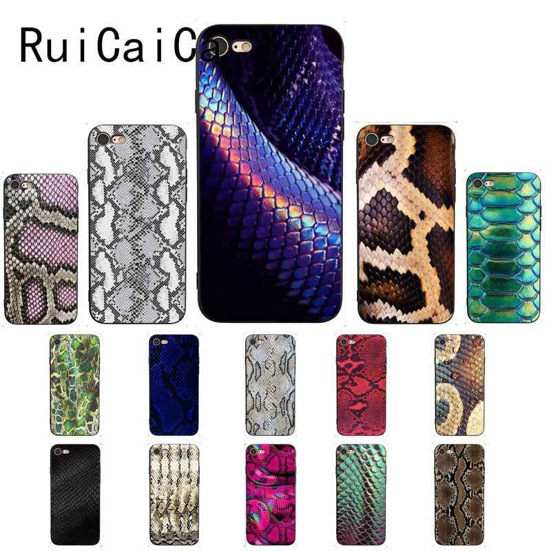 RuiCaiCa Leopard print Snake skin Black TPU Soft Silicone Phone Case Cover for iPhone 8 7 6 6S 6Plus X XS MAX 5 5S SE XR 10