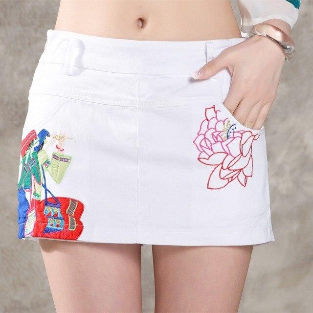 Новые женские летний национальный ветер ретро вышитые хлопчатобумажные и льняные шорты юбки мода дикие цветы Большой размер свободного покроя шорты