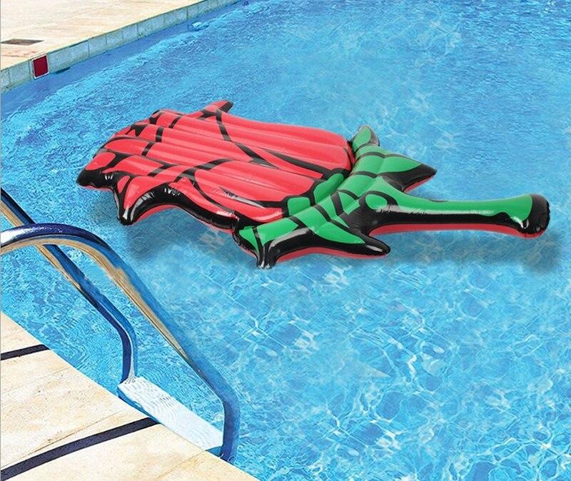 190CM 74 pouces géant gonflable rouge Rose piscine flotteur Air matelas gonflable fleur anneau de bain lit bouée bateau à eau jouets fête d'été