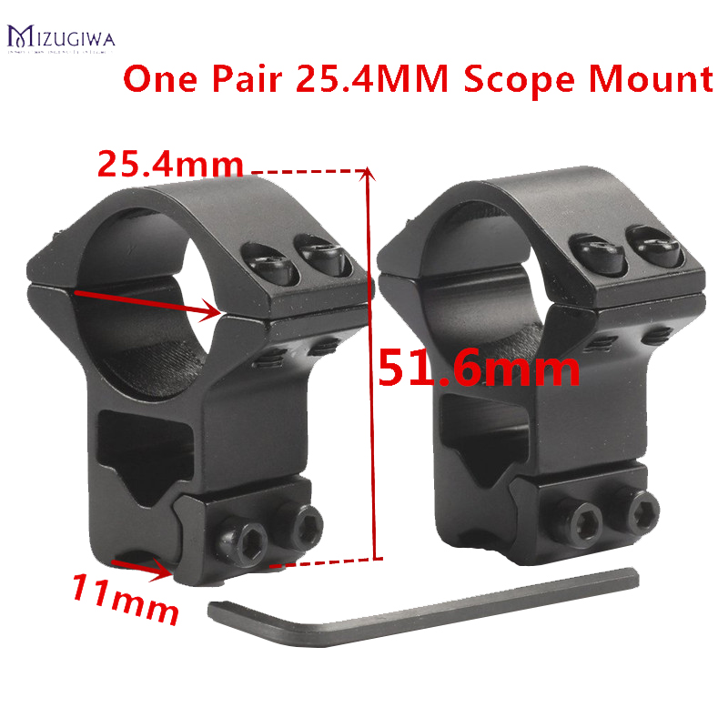 Mizugiwa 2pcs 25.4mm Rifle Scope Mount Ring Premium Hi-Profile Double Screw Strap 11mm Doverail Rail Base Weaver Hunting Caza