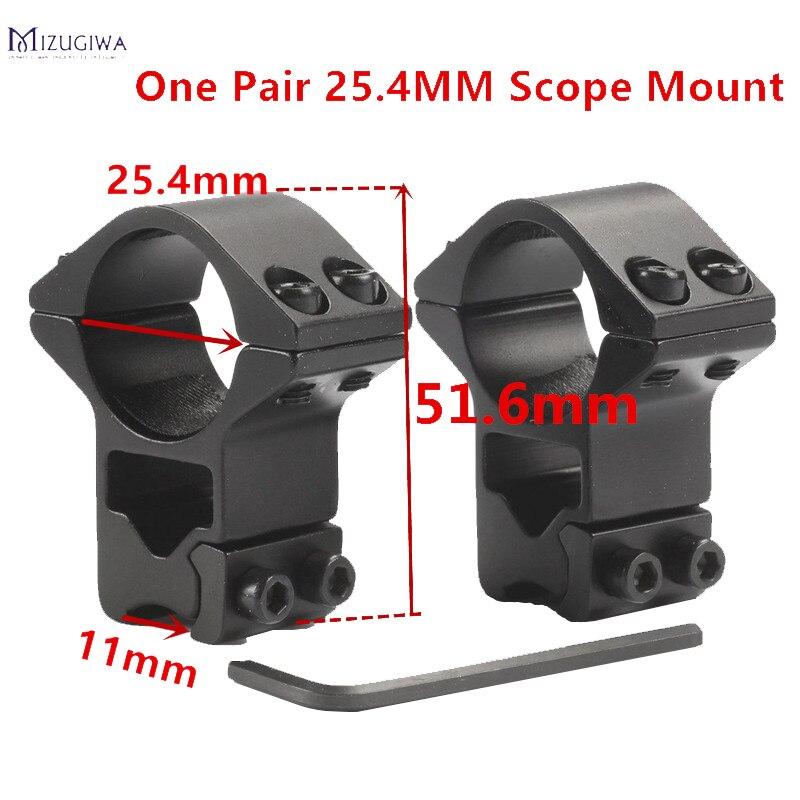 Mizugiwa 2pcs 25.4mm Rifle Scope Mount Ring Premium Hi-Profile Double Screw Strap 11mm Doverail Rail Base Weaver Hunting Caza