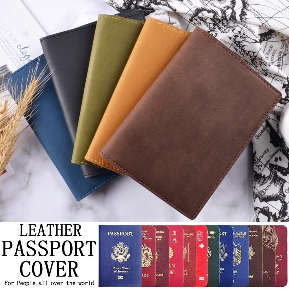 High-end Genuine Leather Passport Cover Solid Credit Card Holder Vintage Men Women Passport Case Business Unisex Travel Wallet