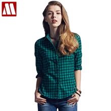 2017 Spring New Fashion Casual Lapel Plus Size Blouses women plaid shirt Checks Flannel Shirts Female Long Sleeve Tops Blouse(China)