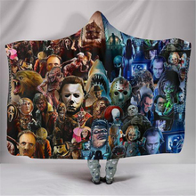 Horror Hooded Blanket For Home Travel Picnic 3D Printed Portable Fleece Wearable Warm Throw Adults Childs