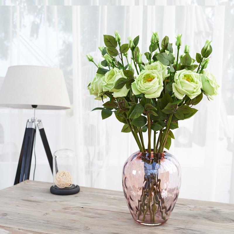 ⑧10 piezas 3 cabezas 26 espuma verde Rose Real Touch Rose flor casa ...