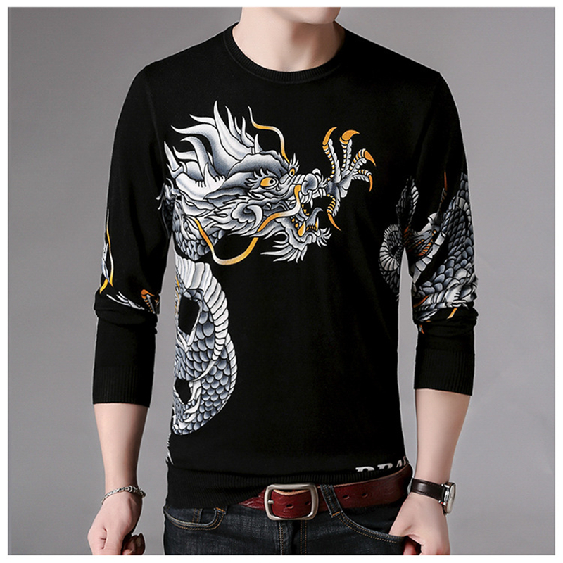 Chinese Style Dragon Totem Printing Boutique Luxury Pullover Sweater Autumn 2018 New Quality Soft Comfortable Sweater Men M-XXXL